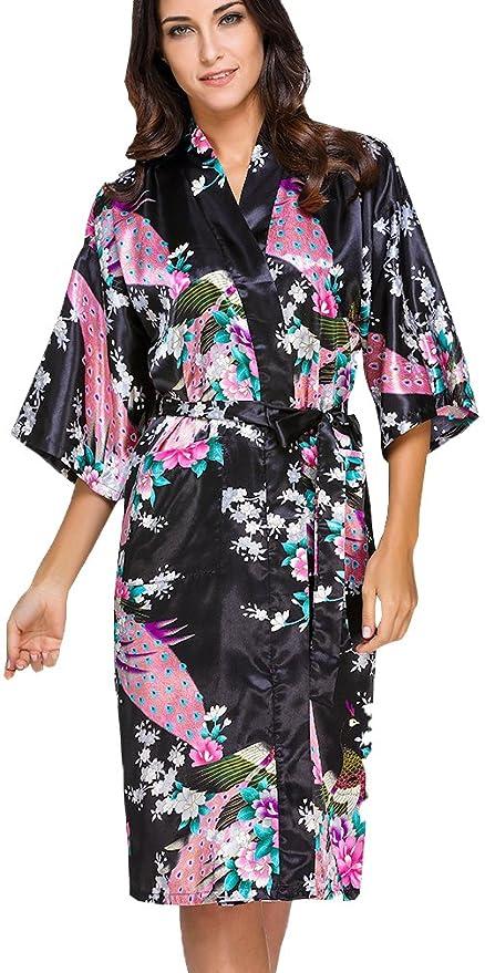 OLIPHEE Mujer Vestido Kimono Floral Satén Largo Pijamas h-S