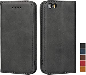 SailorTech for iPhone 5s/SE Leather Case, Wallet Case with Kickstand & Credit Card Slots, Magnetic Closure [TPU Shockproof Interior Protective Case] Flip Cover for iPhone 5/5S/SE, (4.0
