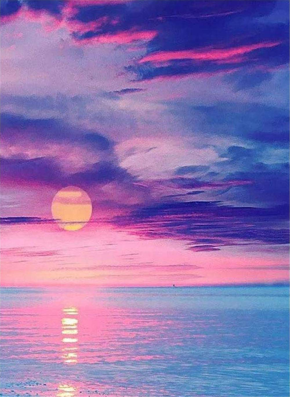 16 inch 5D Diy Diamond Painting Kit By Number Full Drill Sunrise Sea Pink Embroidery Cross Stitch Home Decor Gift 12