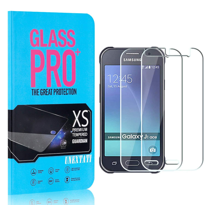 UNEXTATI Premium HD Anti Scratch Tempered Glass Screen Protector Film for Samsung Galaxy J1 Ace Screen Protector Compatible with Galaxy J1 Ace 2 Pack
