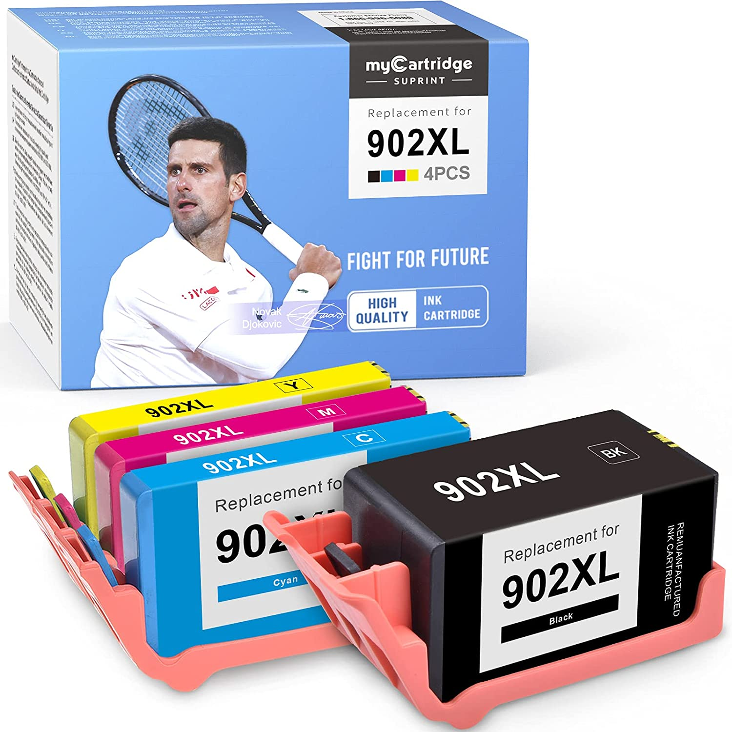 myCartridge SUPRINT Remanufactured Ink Cartridge Replacement for HP 902 XL 902XL use with OfficeJet Pro 6960 6968 6958 6954 6975 6950 6970 6978 (Black Cyan Magenta Yellow, 4-Pack)