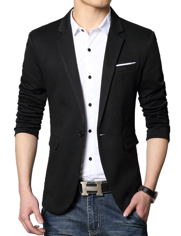 DAVID.ANN Men's Casual Slim Fit One Button Center Vent Blazer Jacket,Black #3625,Medium by DAVID.ANN