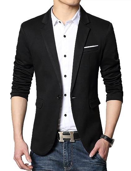 808aea578 DAVID.ANN Men's Slim Fit Casual One Button Blazer Jacket