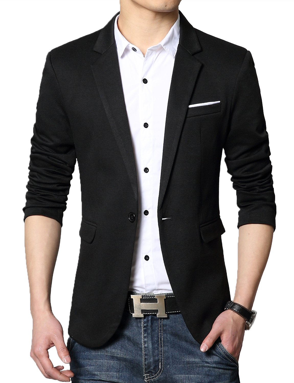 DAVID.ANN Men's Casual Slim Fit One Button Center Vent Blazer Jacket,Black #3625,Large