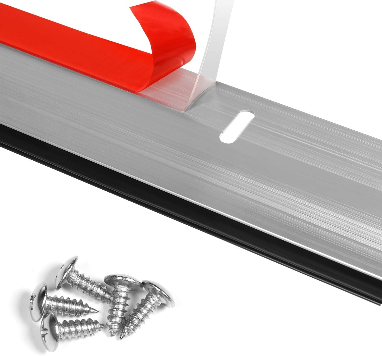 Silver BAINING Door Draft Stopper Under Door Sweep Bottom Seal Strip Made of Aluminium Anti Mouse Bite 2 W x 42 L