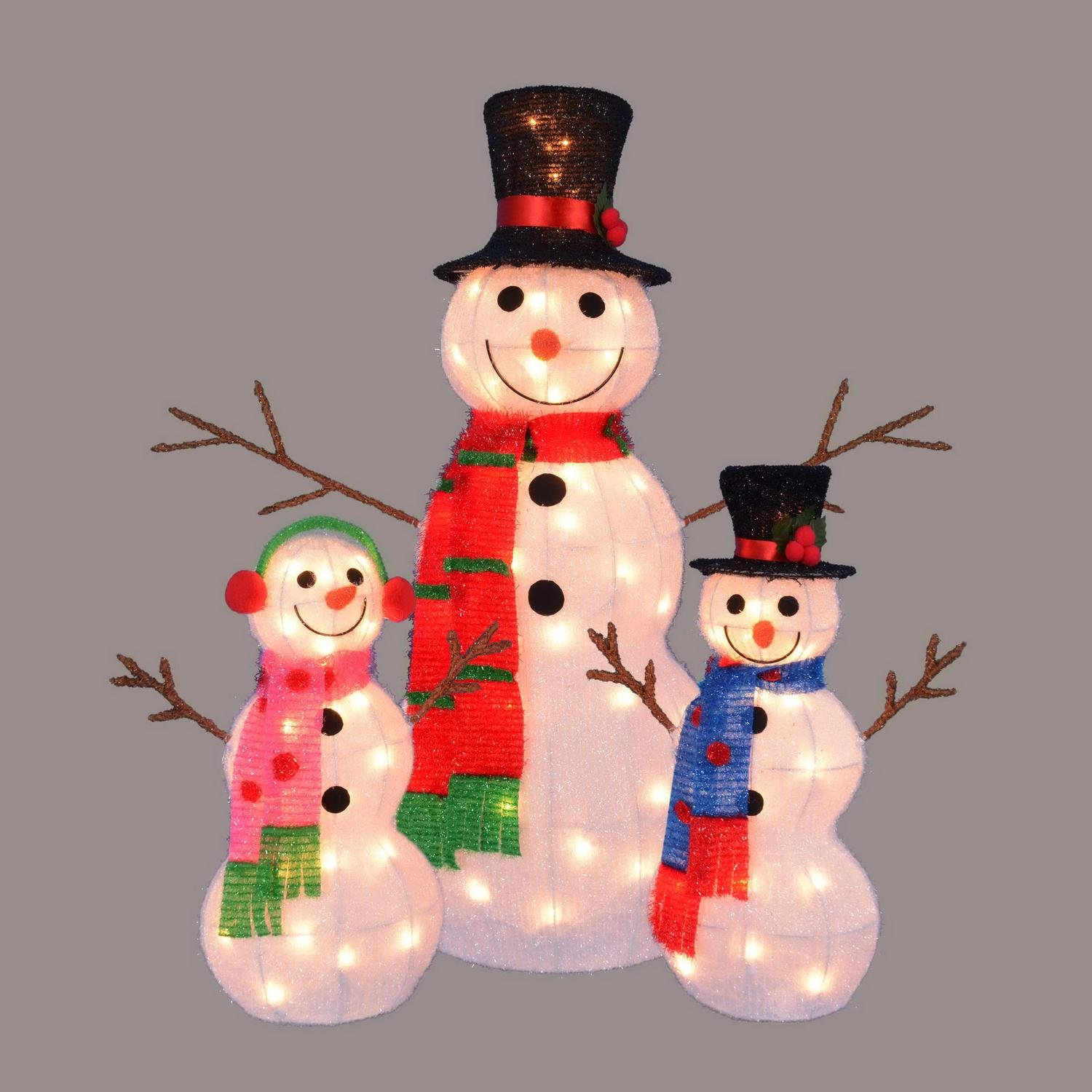 Set of 3 Lighted Tinsel Snowman Family Christmas Yard Art Decorations 35''