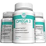 Pure Nutrinex Omega 3 Fish Oil Pills to Support Heart, Brain, Immune and Joint Health with 1000mg Fish Oil and 160mg EPA and 120mg DHA per Softgel. No Fishy Aftertaste. 60 Softgels.