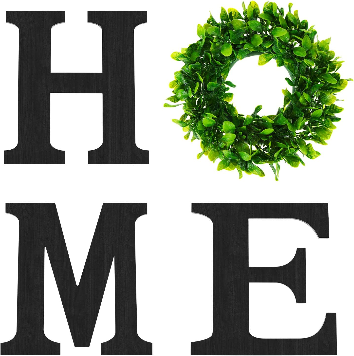 3 Pieces 12 Inch Black Wooden Letters Decorative Home Signs Wall Letters with Green Wreath Flower Garland for Farmhouse Living Room, Bedroom, Kitchen, Doorway Decoration