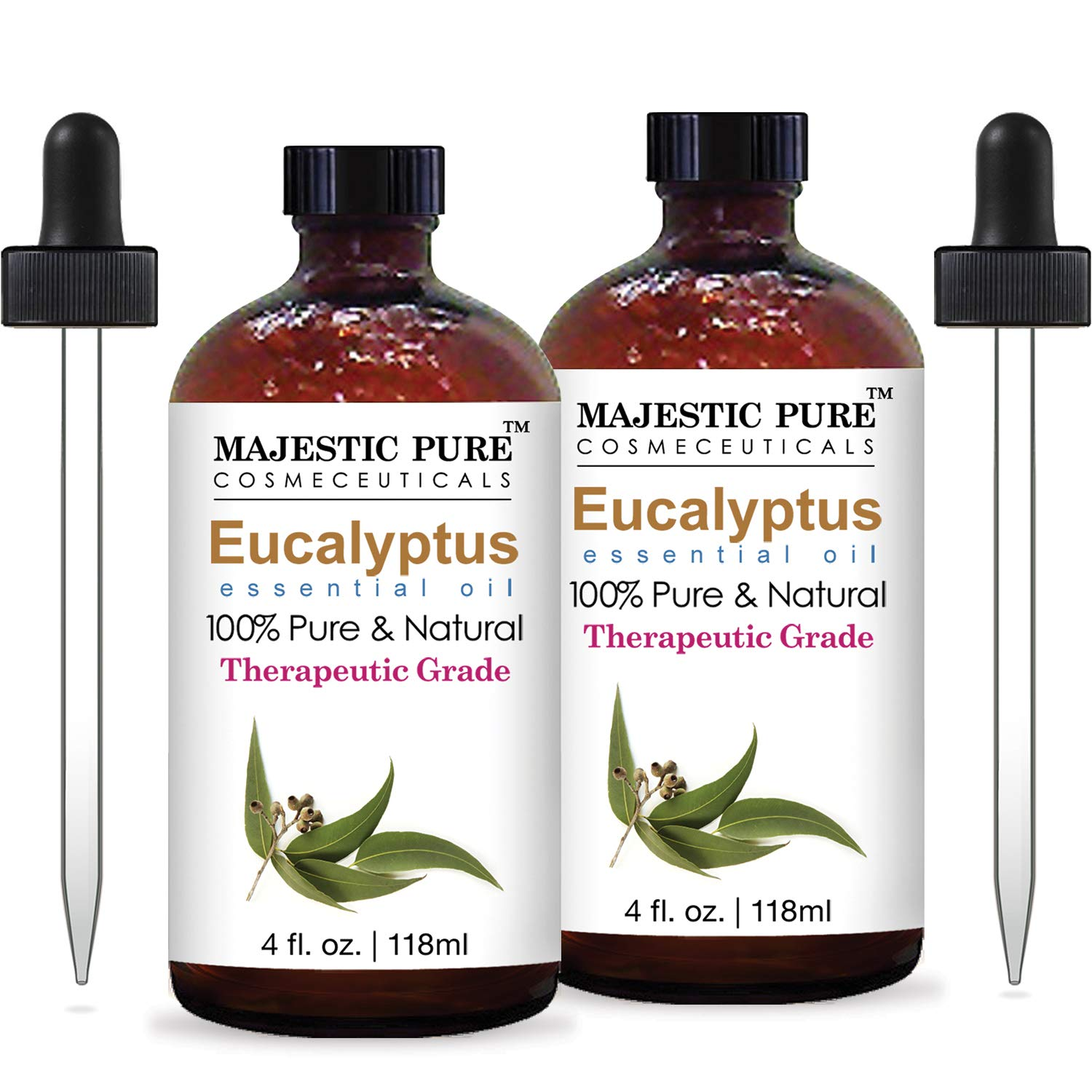 Majestic Pure Eucalyptus Essential Oil, Pure and Natural with Therapeutic Grade, Premium Quality Eucalyptus Oil, Set of 2, 4 Oz by Majestic Pure