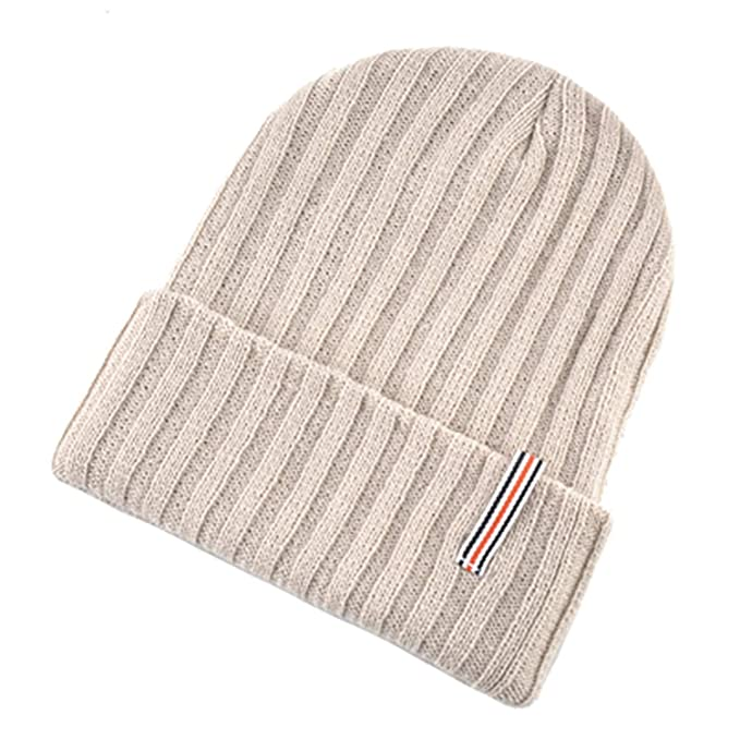 d405d0bcb46 Image Unavailable. Image not available for. Color  MEIZOKEN Solid Color Beanies  Men Knitting Wool hat Thick Warm Bonnet Skullies Winter Hats for Women