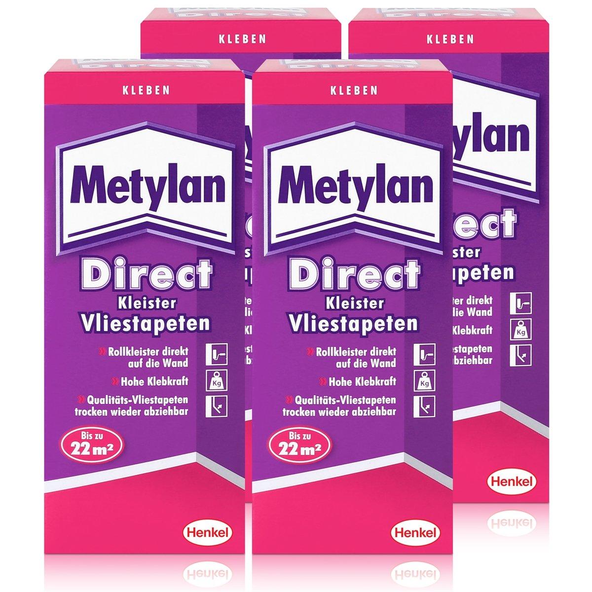 Henkel Metylan Direct Tapetenkleister fü r Vlies-Tapeten 200g (4er Pack)