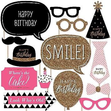 Amazon chic happy birthday pink black and gold birthday chic happy birthday pink black and gold birthday photo booth props kit voltagebd Choice Image