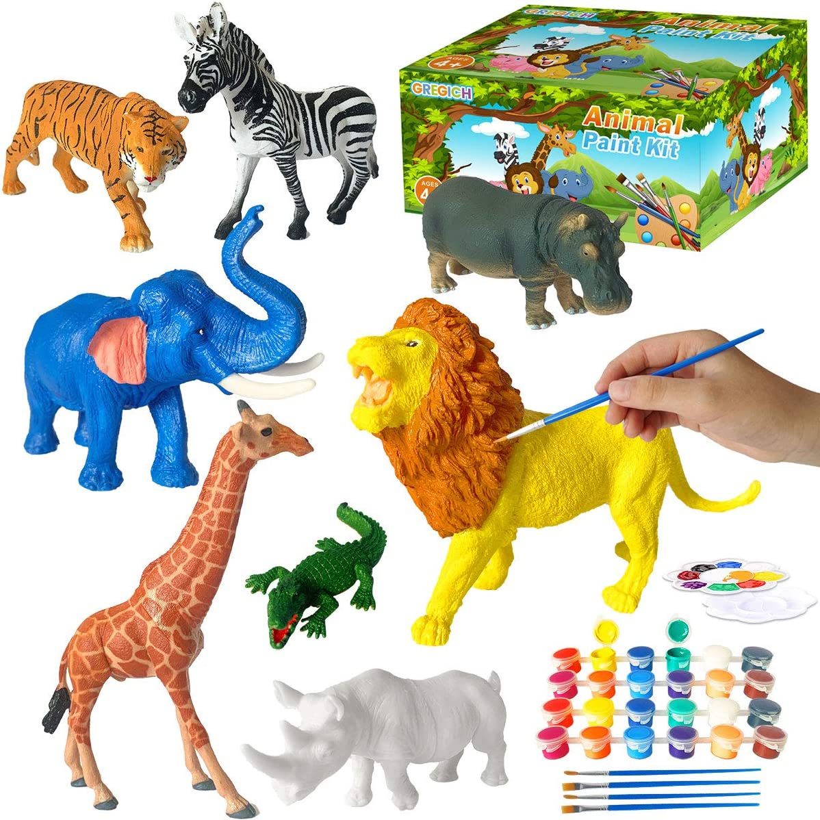 GREGICH Paint Your Own Animal Painting Kit for Kids, Safari Animal DIY Kit Art Supplies Activity for Kids Paint Crafts for Boys Girls, Art and Crafts for Kids Age 4 5 6 7 8 9 Years Old Birthday Gift
