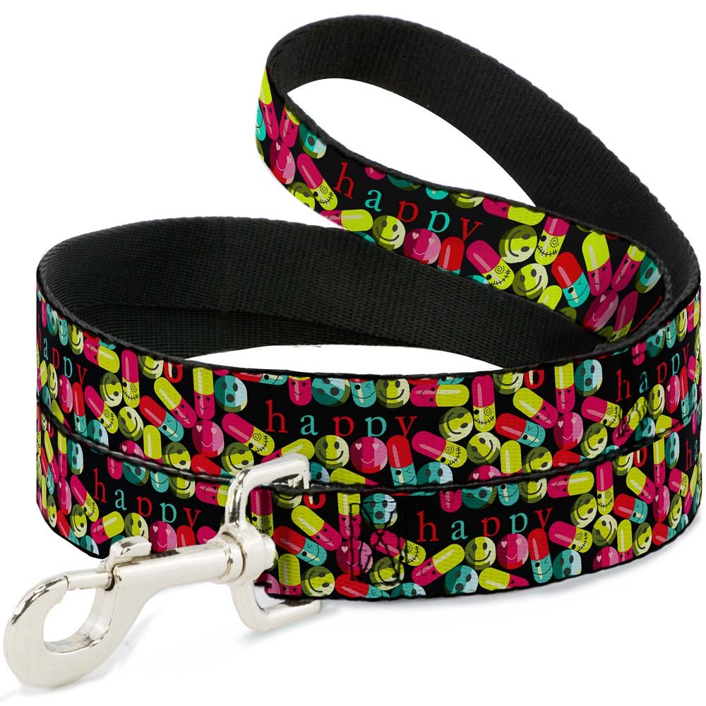 Buckle-Down DL-W31675-N Narrow 0.5  Pills Happy Black Multi color Dog Leash, 4'