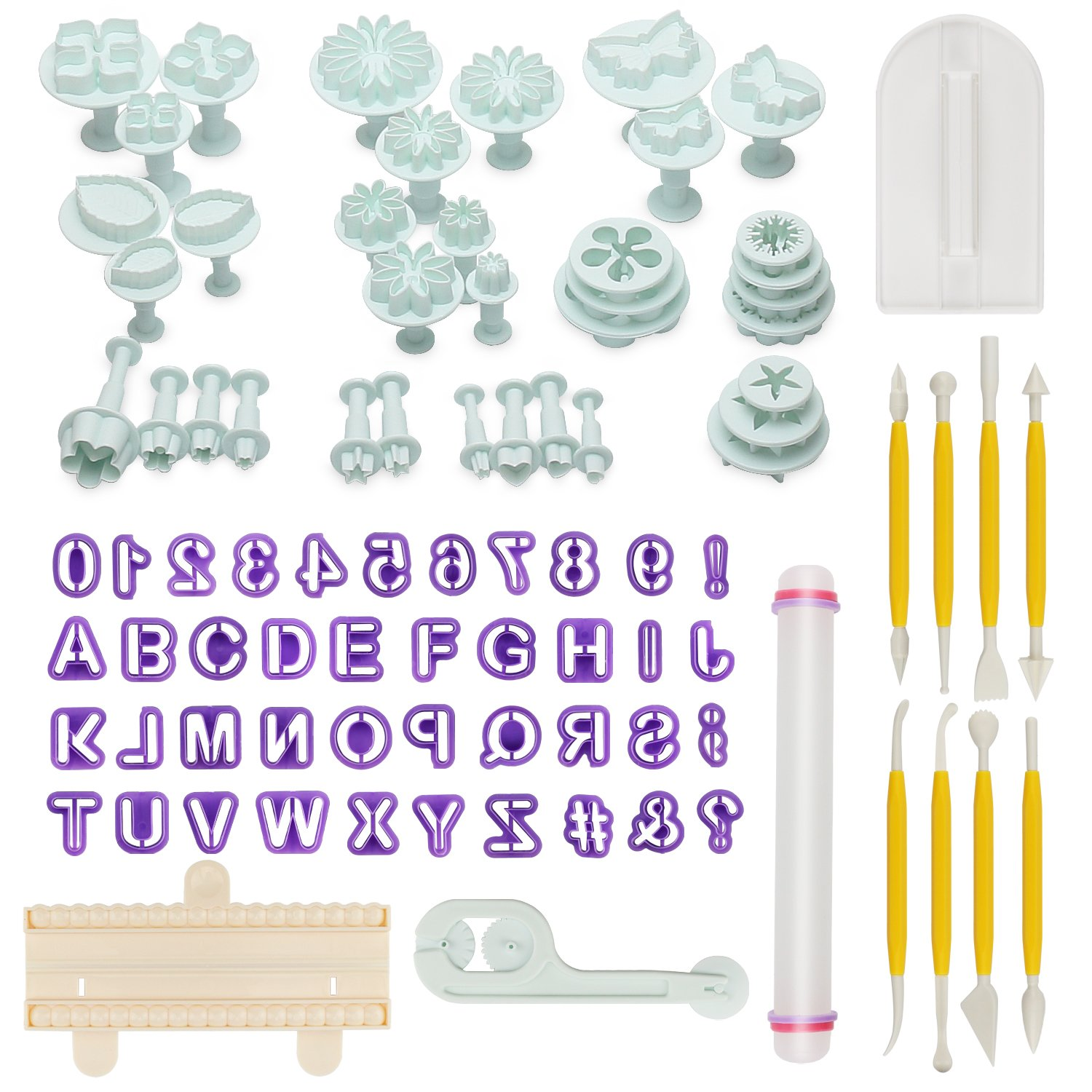 AOAFUN 88 pcs Cake Decorating Tools Fondant Icing Cutters Sugarcraft Tools Kit Plunger Cutters Rose Flower Leaf Moulds Set Cup Cake Icing Smoother Rolling Pin Equipment Accessories AFAT007