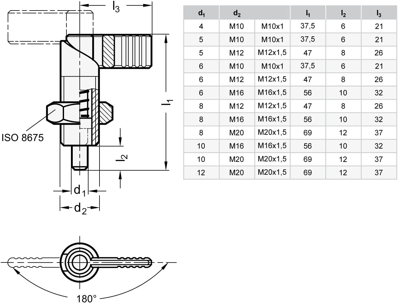 GN 612-12-M20-AK-NI Locking Bar//GN 612/12//Bolt Diameter 12/mm Pack of 1 Silver Ganter Standard Elements