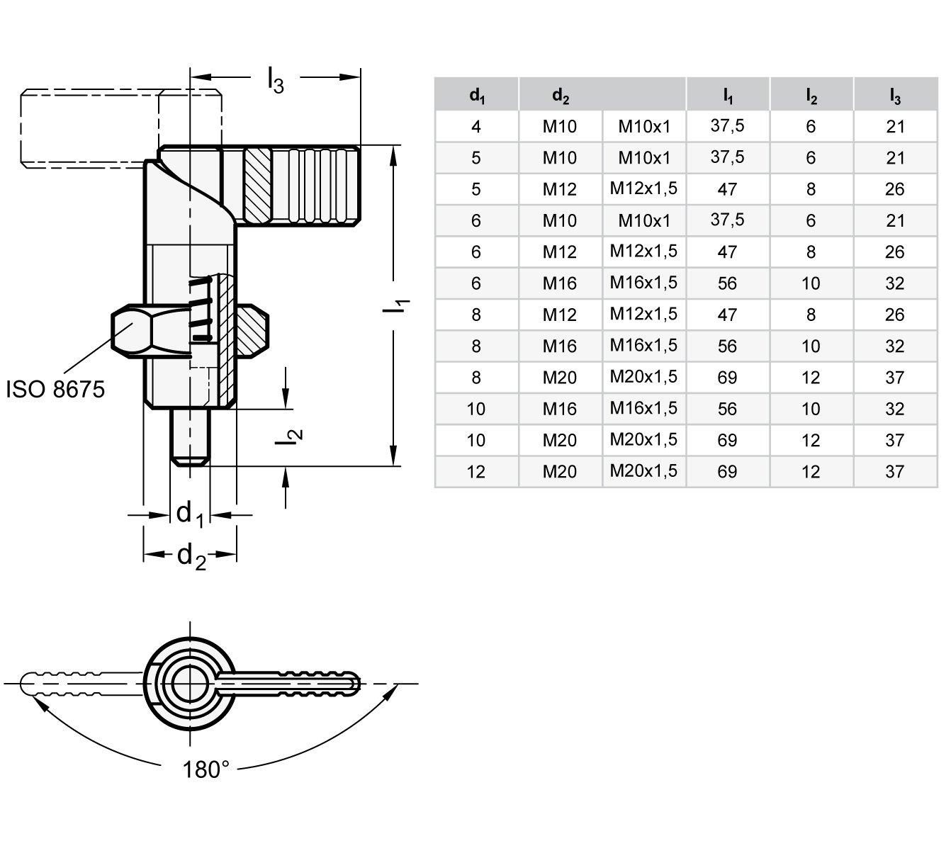 br/üniert Gewinde d2 Ganter Normelemente GN 612-12-M20-AK 612-12-M20-AK-Rastriegel M20