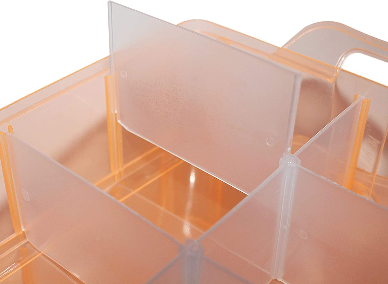 Caja Almacenamiento 3 Niveles Pl/ástico Durazno Manualidades Organizador para Artes 18cmx24cmx15cm Almacenaje con asa Apilable Contenedor con 30 Separadores Ajustable Cosm/éticos Joyas Abalorios