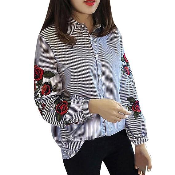 letter,Mujeres Blusas Ocasionales Camisa de Manga Larga de Rayas Bordadas Floral para Damas (