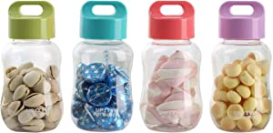 UPSTYLE 6oz Kids Small Water Bottle Food Grade Plastic Mini Cute Juice Travel Sports Wide Mouth Mugs in Bulk for Milk/Coffee/Tea Kitchen Storage Cups for Snacks Lunch Box