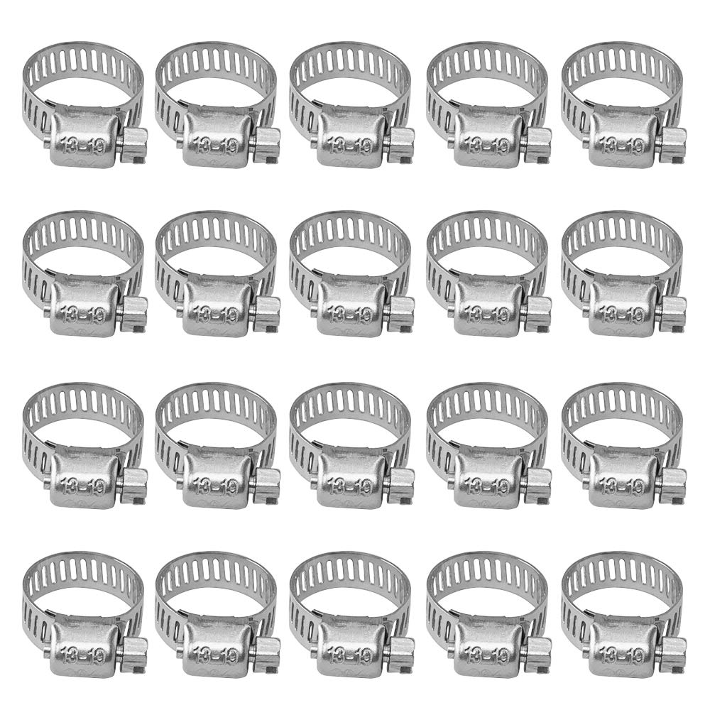 Clamping Range 0.39in-0.63in 10-16mm 20pcs Stainless Steel Adjustable Worm Gear Hose Clamps