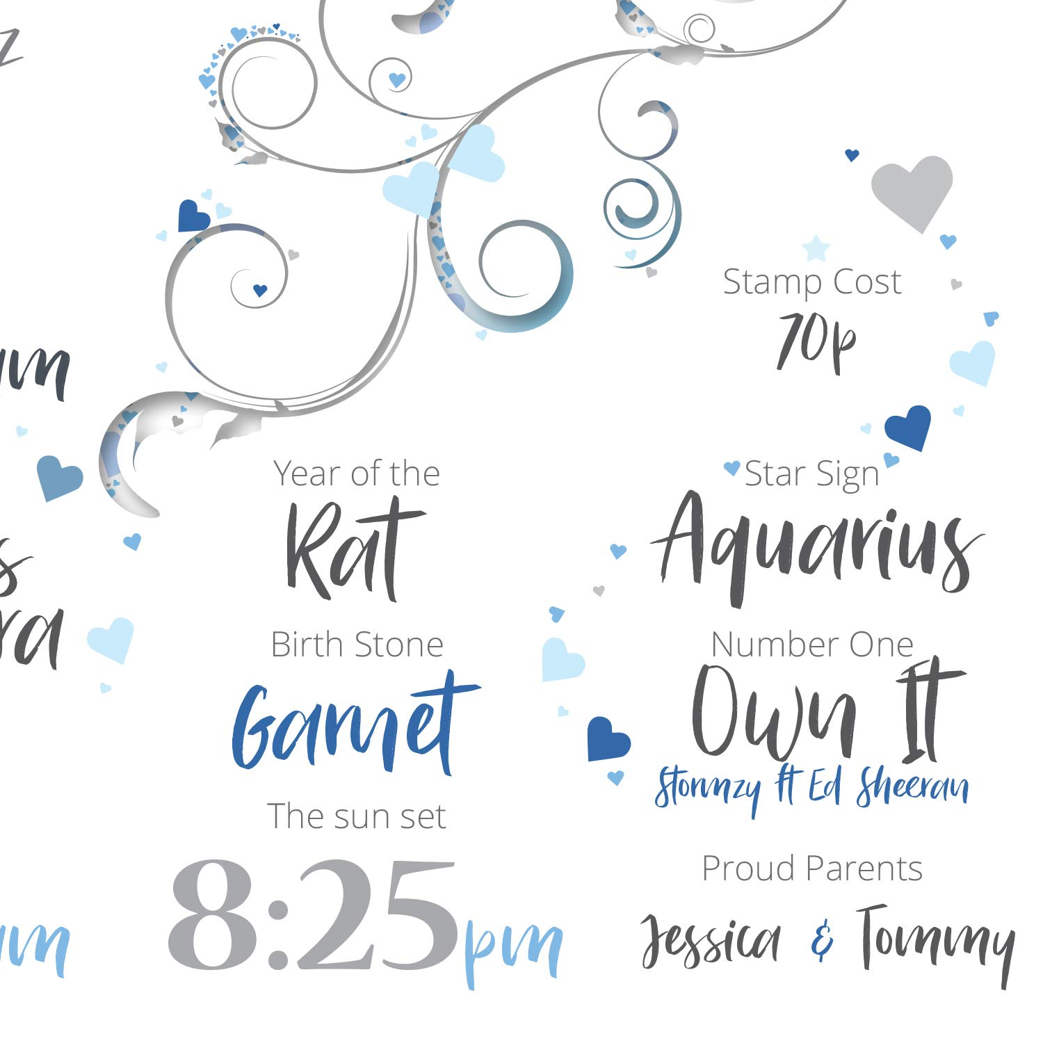 New Born Gift Personalised Birth Details Print Blue A4 Stats PRINT