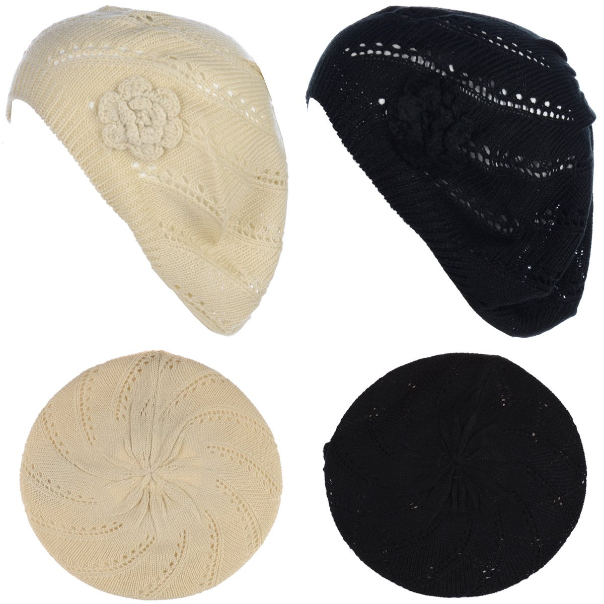 BYOS Chic Parisian Style Soft Lightweight Crochet Cutout Knit Beret Beanie Hat (2-Pack Swirl Cream & Black)