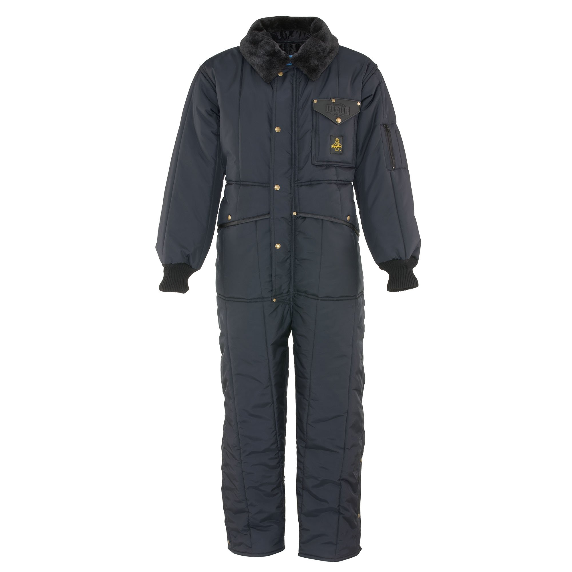 RefrigiWear Men's Iron-Tuff Insulated Coveralls -50 Extreme Cold Suit (Navy Blue, XL)