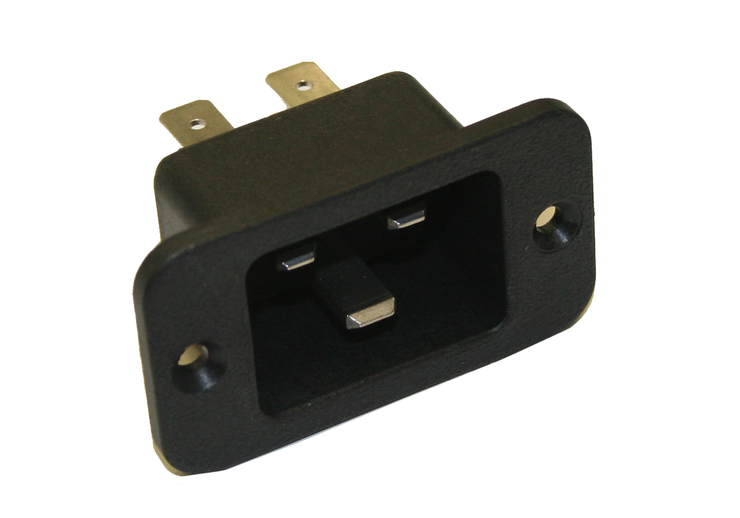 Interpower 83030400 IEC 60320 C20 Power Inlet with Quick Disconnects, IEC 60320 C20 Socket Type, Black, 16A/20A Rating, 250VAC Rating by Interpower