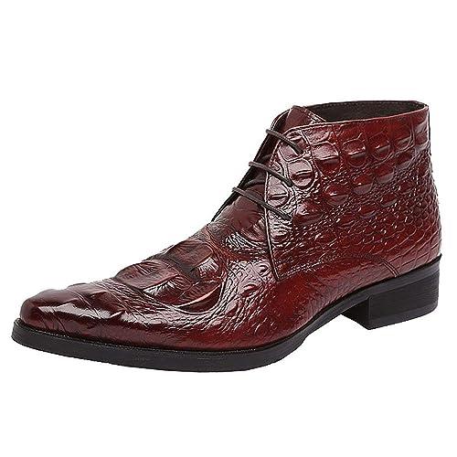 1ef496b480 Jsix Botas de cuero para hombre Clásicas Botines De Piel De Cocodrilo  Patrón  Amazon.es  Zapatos y complementos
