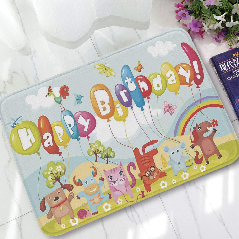YOLIYANA Polyester Carpet,Birthday Decorations for Kids,for Meeting Room Dining Room,15.75''x23.62'',Farm Life Animals Balloons Rainbow Clouds