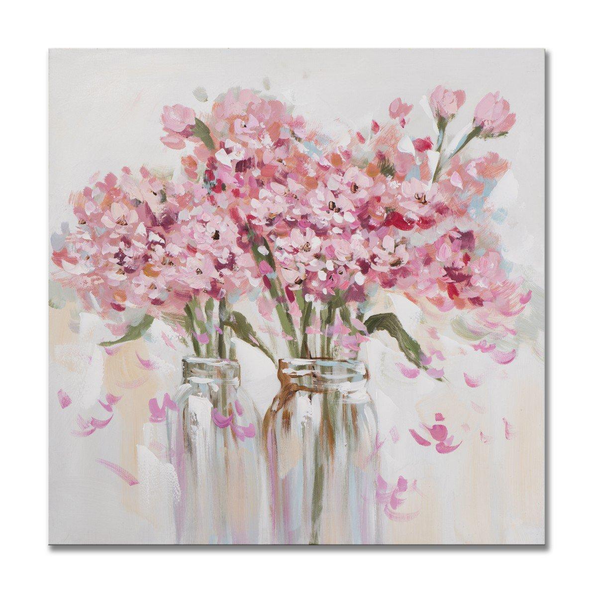 Sieben Wall Arts – Gerahmt Schönes Rosa Blumen Gemälde Blumen in die Vase Gespannte Leinwand für Wohnzimmer