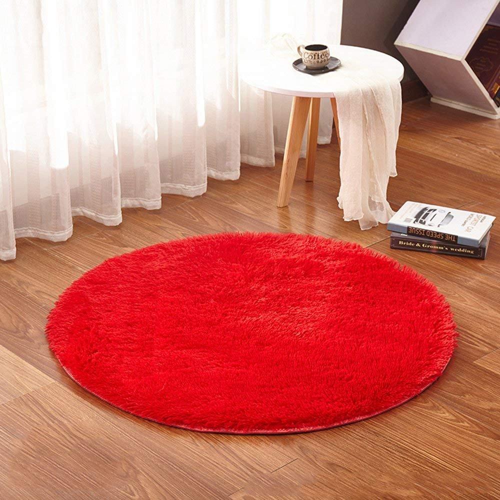 Lulalula circulaire Rugs Tapis rond souple Tapis salon Chambre à coucher de sol décoratif Tapis de jeu Tapis pour chambre d'enfant (100cm Diamètre Cercle)