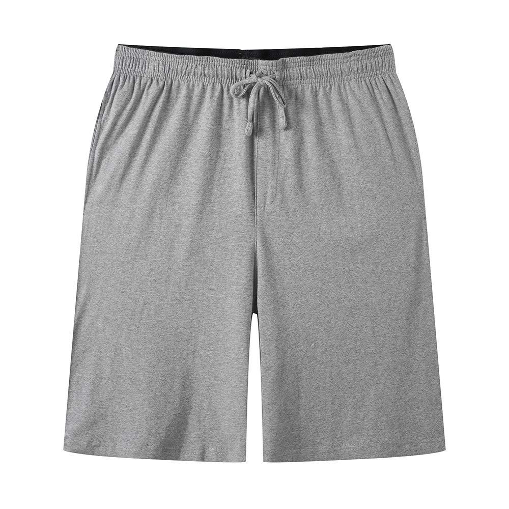 JINSHI Herren Pyjamahose Kurz Freizeithose Schlafanzughose Shorts