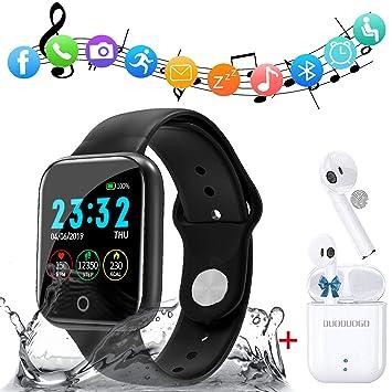 Smartwatch y Un par de auriculares Bluetooth vendidos juntos, Reloj Inteligente Impermeable con Pulsómetro, Pulsera Actividad Inteligente Hombre Mujer ...