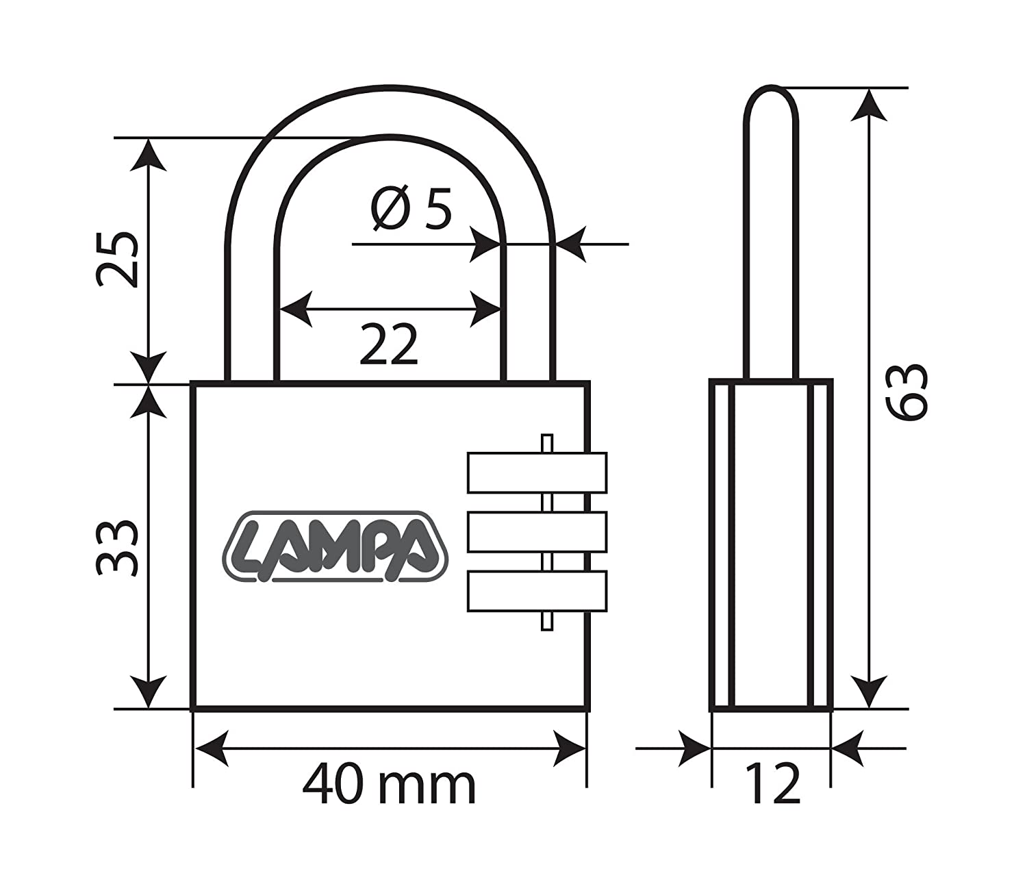 40 mm Lampa 65432 Brass Padlock with Variable Combinations