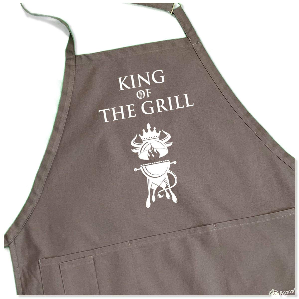 ApronMen King of The Grill Apron – BBQ Crest – 1 Size Fits All Adjustable Strap – Gray Color