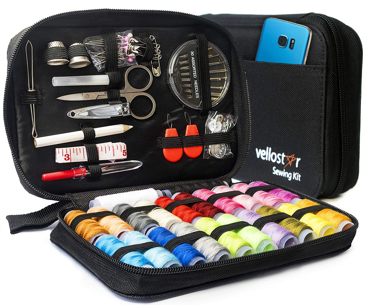 Sewing KIT Premium Repair Set - Over 100 Supplies and 24-Color Threads & Needles, Portable Mini Mending Button Travel Sew Kits, Easy to Use Sowing Accessories for Adults & Beginners, Giftable, Black by VELLOSTAR