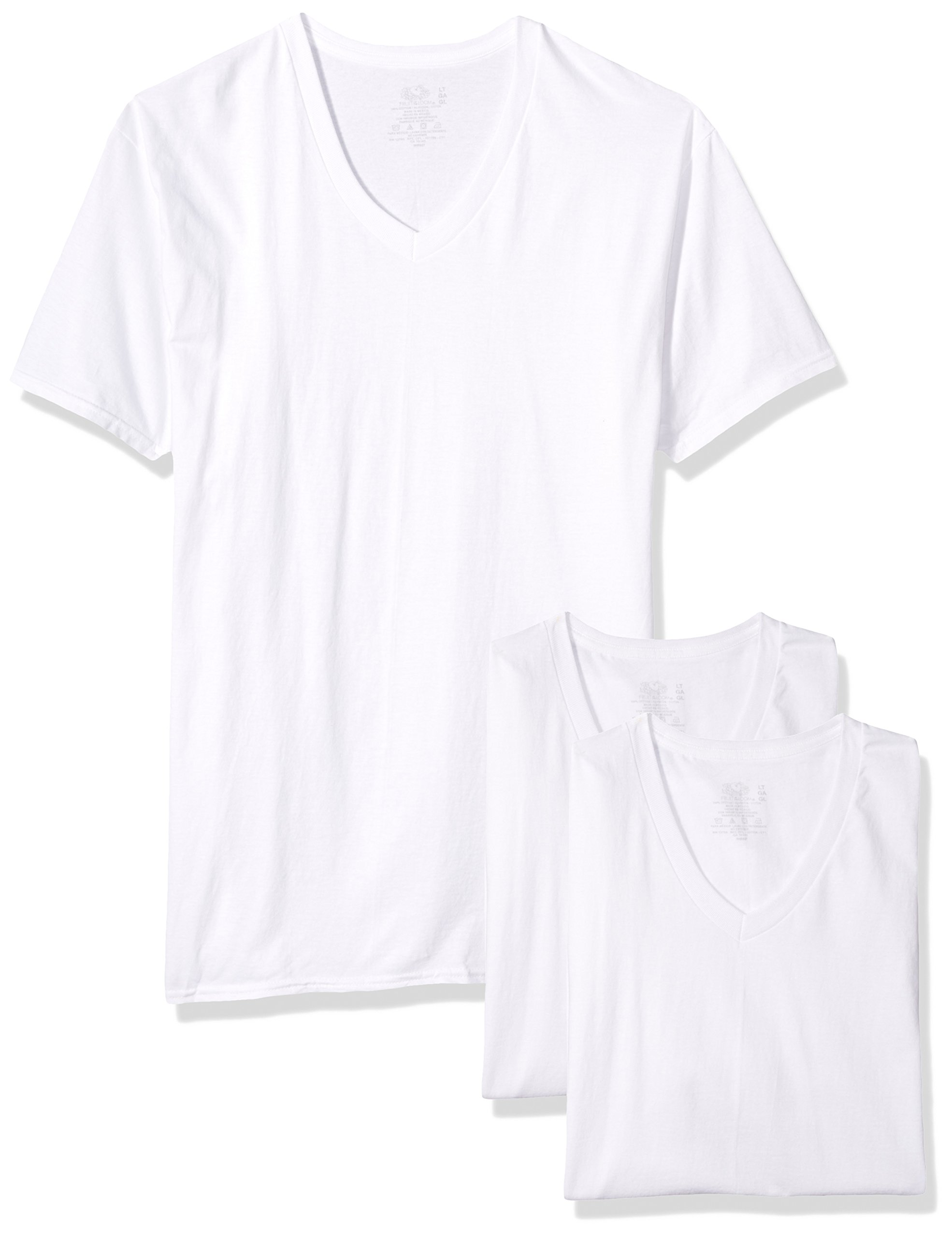 Fruit of the Loom Men's 3-Pack Tall Size V-Neck T-Shirt, White, L by Fruit of the Loom