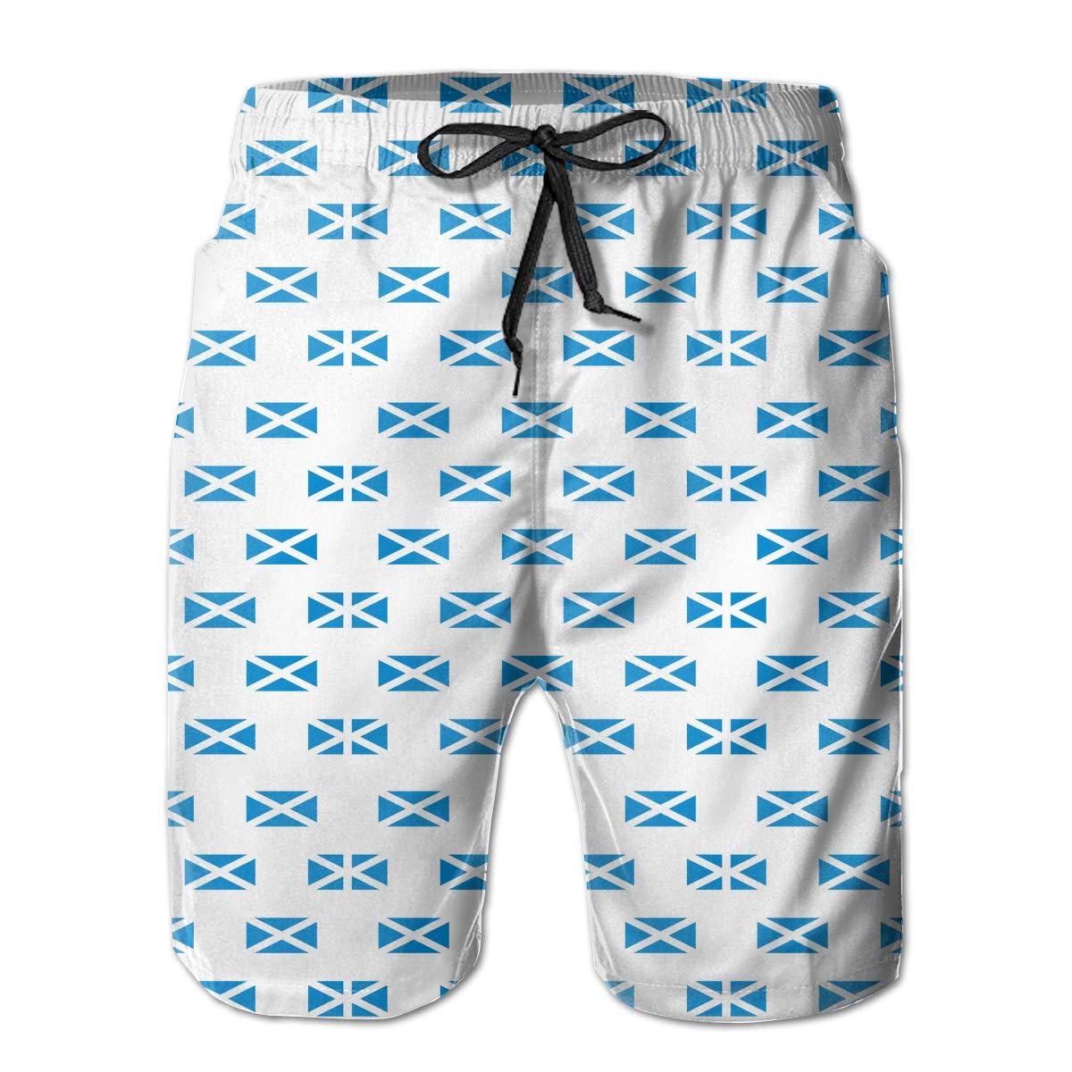 UHT28DG Scotland Flag Pattern Mens Board//Beach Shorts Quick Dry Beachwear