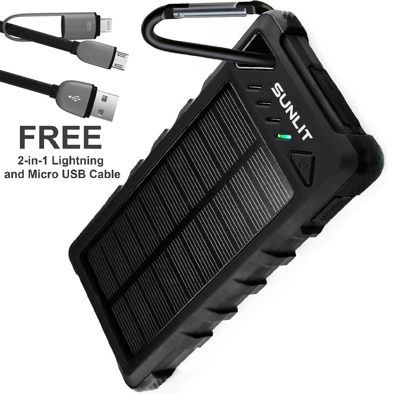 Solar Charger SUNLIT | Portable Power Bank with Flashlight | All Weather Condition | Shockproof Dustproof Waterproof IP67 | 16000mAh Dual USB Battery Pack For Iphone Samsung Android (BLACK)