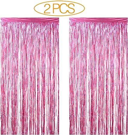 2PCS ROSE GOLD Foil Fringe Curtains Photo Backdrop 3Ft X 8.3Ft Metallic Tinsel F