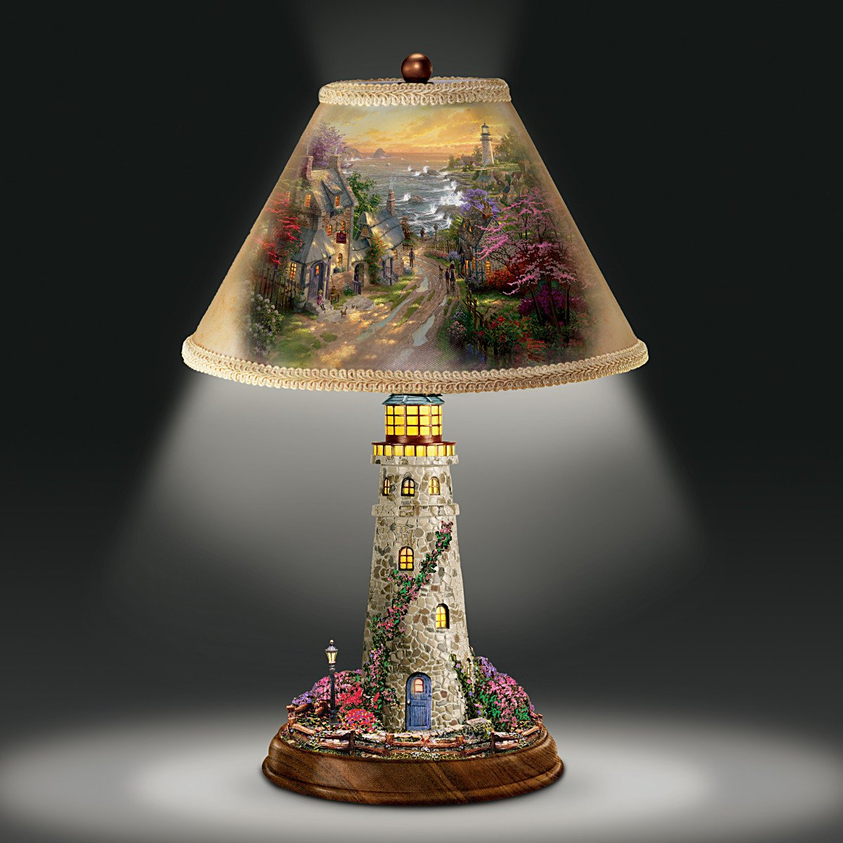 Thomas Kinkade Lamp With The Village Lighthouse Artwork On Shade And Base By Bradford Exchange