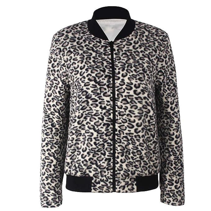 BaZhaHei-Chaqueta de Mujer, Blusa de béisbol Mujer Leopard Cuello Redondo Cremallera Camisetas de Mujer Blusa de Manga Larga Regular de Chaqueta con ...
