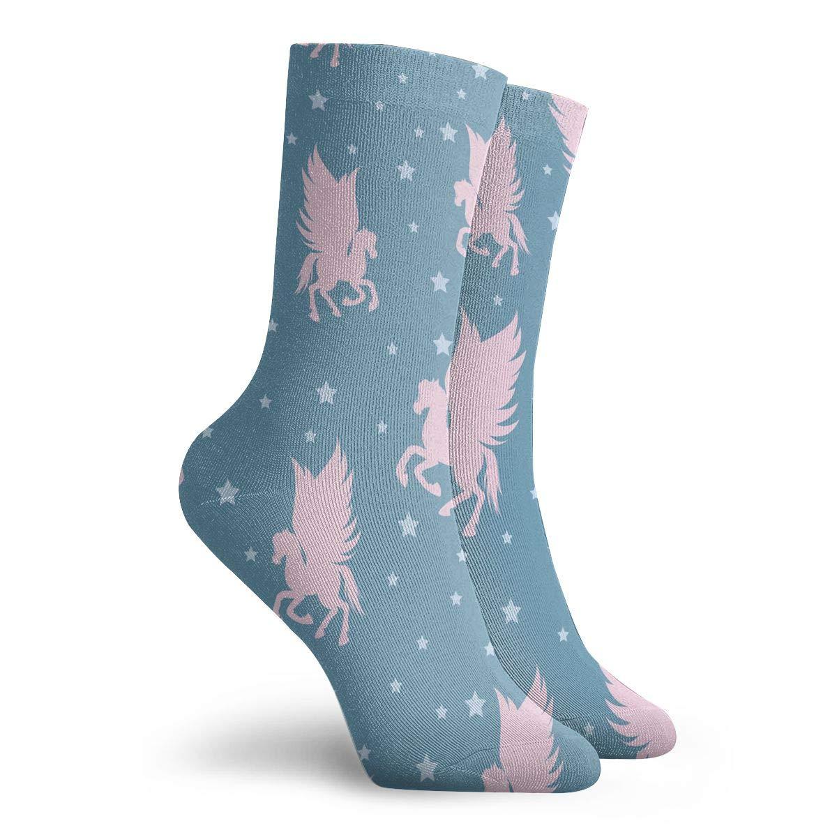 Pink Silhouettes Of Flying Pegasus Fashion Dress Socks Short Socks Leisure Travel 11.8 Inch