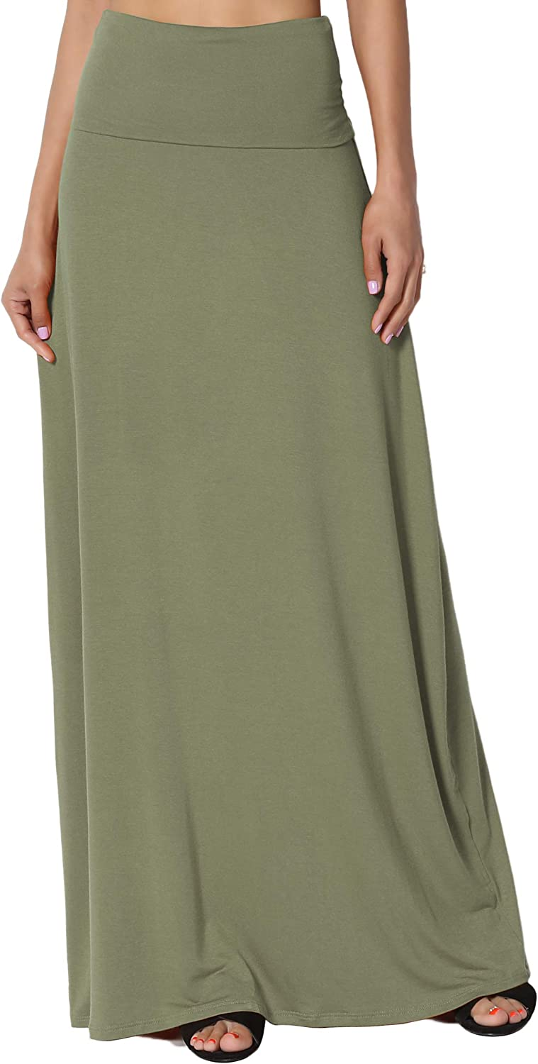 TheMogan S~3XL Womens Casual Lounge Solid Draped Jersey Relaxed Long Maxi Skirt