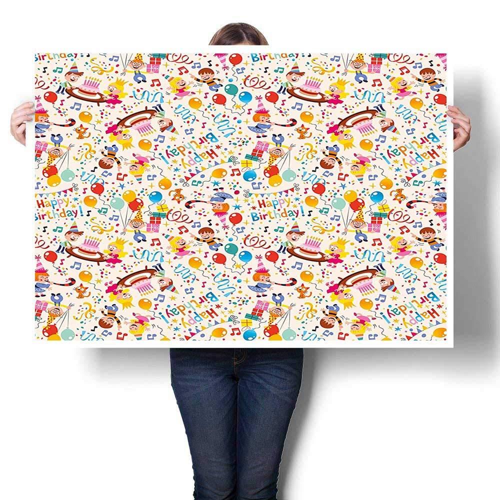 パネルウォールアート キャンバスに描かれた波 子供用 農場 動物 風船 虹 雲 村 テーマ パーティー マルチカラー 油絵 ホームデコレーション (フレームなし) 36 x 20inch(90x50cm)/1pc   B07MSLJHTS