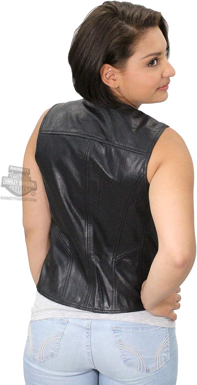 Harley-Davidson Womens Essential B/&S Metal Badge Snap Front Black Vest 98093-16VW
