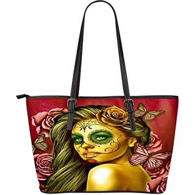 DealioHound Calavera Design #2 Large Vegan PU Faux Leather Tote Bag (Yellow Smiley Face