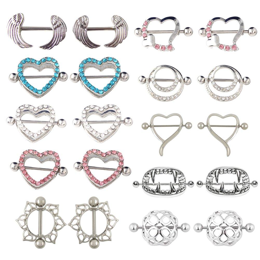 UBOOMS 10 Pair Nipple rings Different Shape Nickel free Body Piercing Jewelry Surgical Steel by UBOOMS